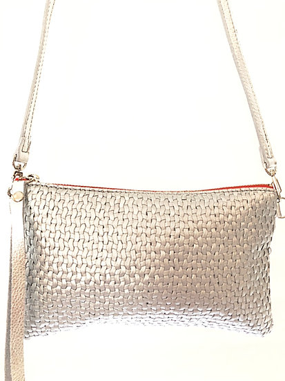 Silver Woven Leather Cross Body Bag with Wristlet option
