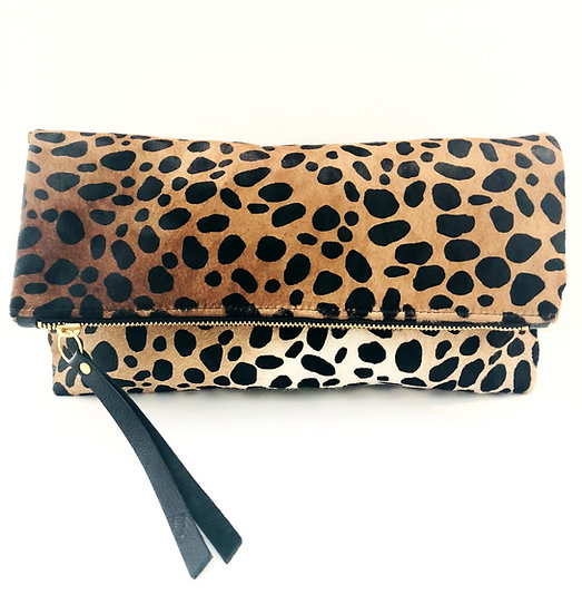 Leopard Calf Hair Foldover Bag with Detachable Shoulder Chain