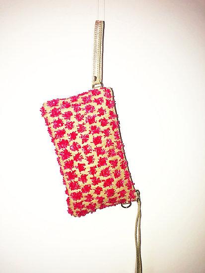 Pink Fleurette Bag with Shoulder Chain and Wristlet Option