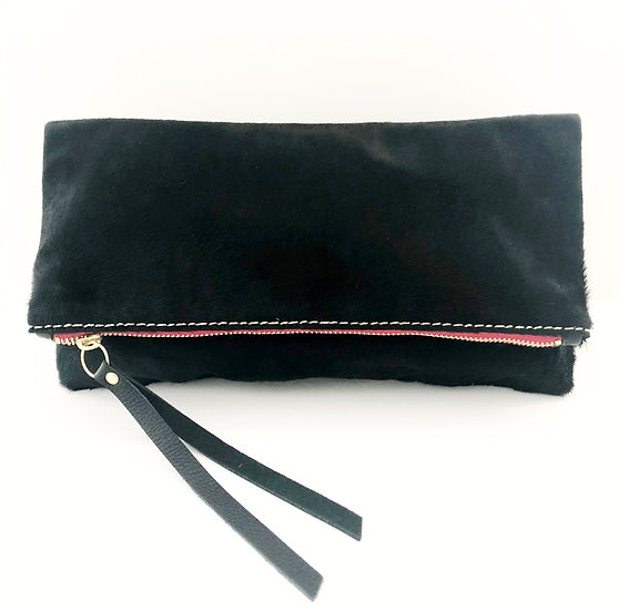 Black Calf Hair Foldover Bag with Detachable Shoulder Chain