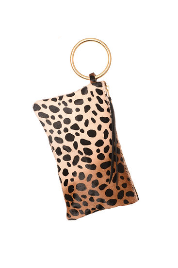 Leopard Calf Hair Clutch with Gold Bangle Wristlet