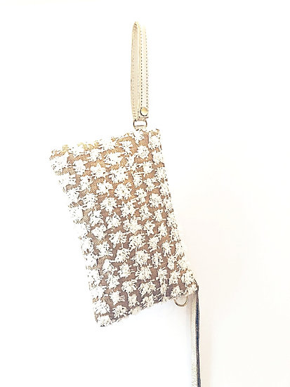 White Fleurette Bag with Shoulder Chain and Wristlet Option