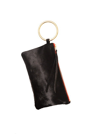 Black Calf Hair Clutch Gold Bangle and Red Zipper