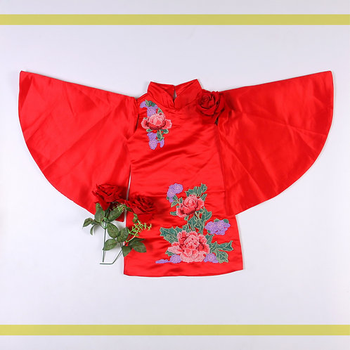 Red Flowers Print with wings Dress