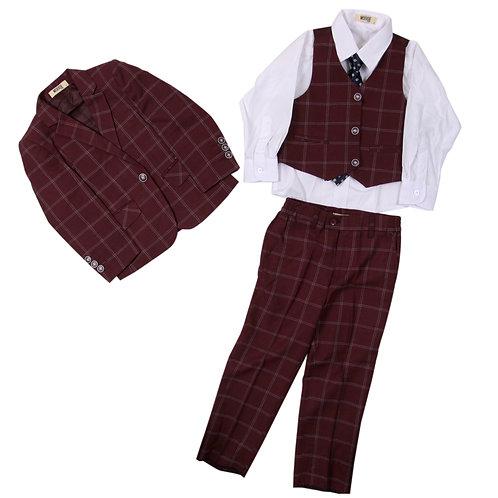 MOEJOE Maroon Gingham Suit