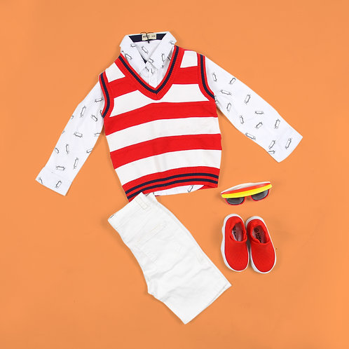 Moejoe Boy Red White Stripes Vest