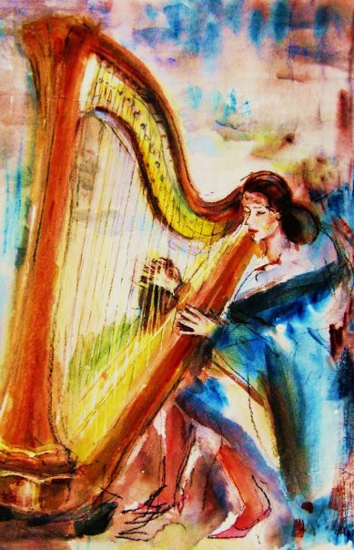 Cloaked Harpist