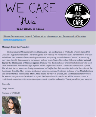 WE CARE's First Newsletter - 'Mira'