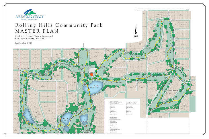 Rolling Hills Master Plan developed by Seminole County shows a primary trail connecting through the Rolling Hills property with various activity nodes along the way.