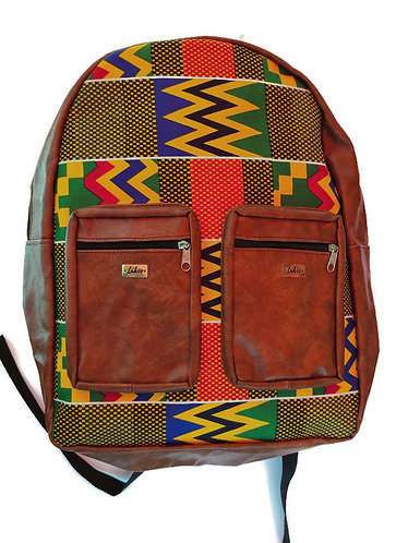 Brown leather and kente print backpack