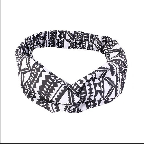 African print headband- Black and white