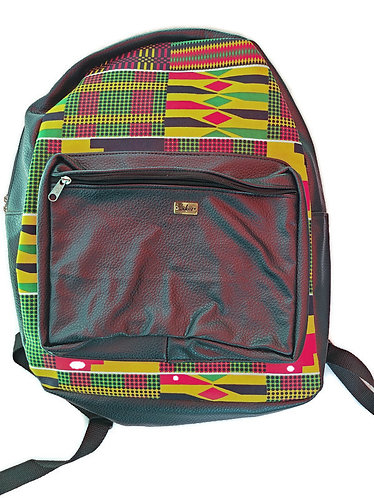 Black leather and Kente print backpack- Large