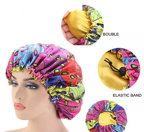Satin African print bonnet (nightcap)