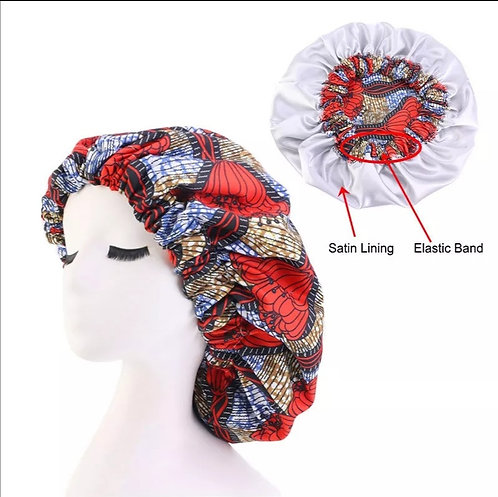 Satin African print bonnet (nightcap)