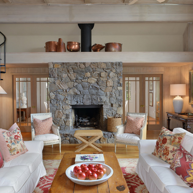 Cozy living room and brick fireplace