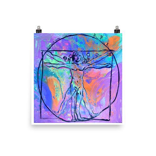 Vitruvian Man under UV Light Print
