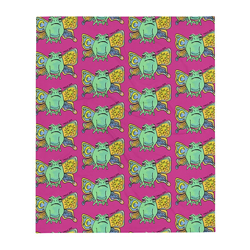 Frog Butterfly Throw Blanket