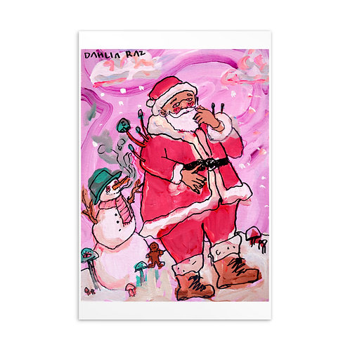 Frosty and Santa Postcard