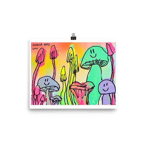 Happy Mushrooms Poster