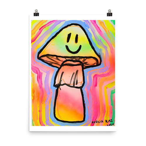 Happy Trippy Mushroom Poster