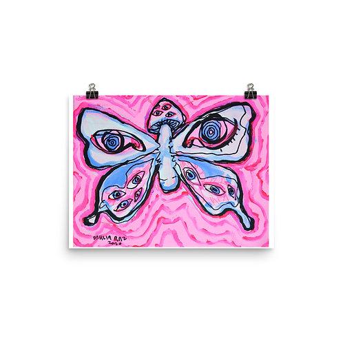 Mushroom Butterfly Poster