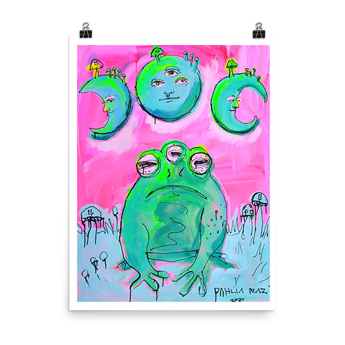 Frog and Moons Poster