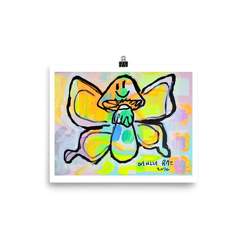 Happy Mushroom Butterfly Poster