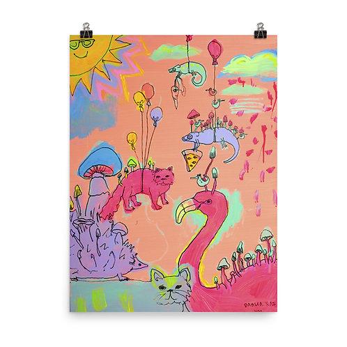 Cat, Hedgehog, Cat, Chameleon, Flamingo Poster