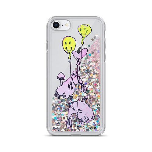 Blob Fish and Balloons Liquid Glitter Phone Case