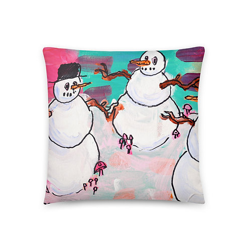 Snow People Chilling Pillow