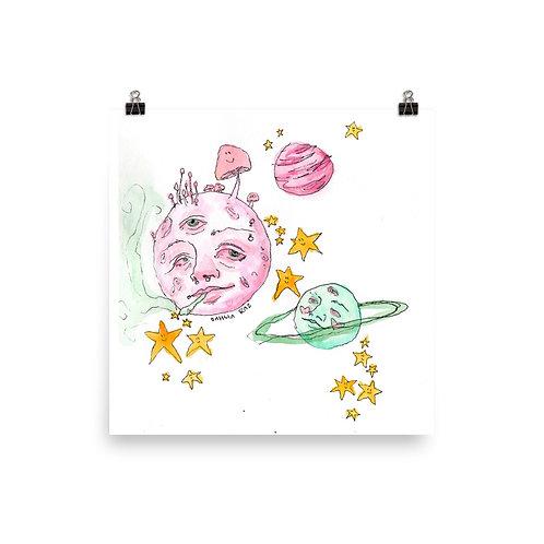 Moon, Saturn and Jupiter Poster