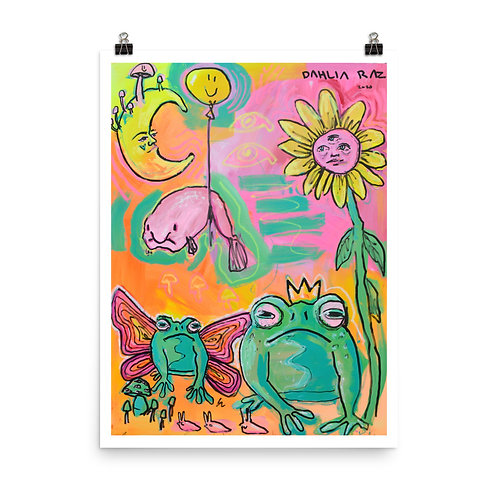 Frogs and Friends Poster