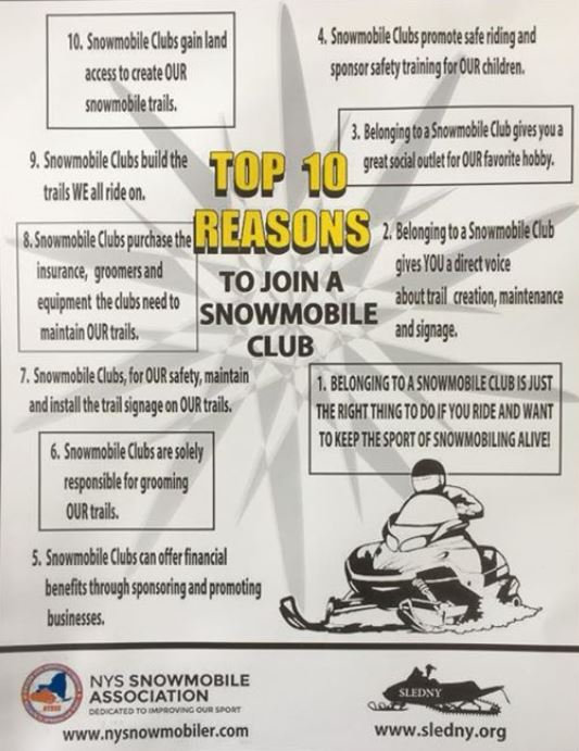 top ten reasons to join a snowmobile clu