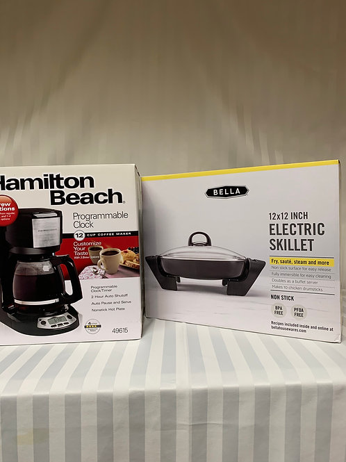 Hamilton Beach 12 Cup Coffee Maker and Bella Electric Skillet