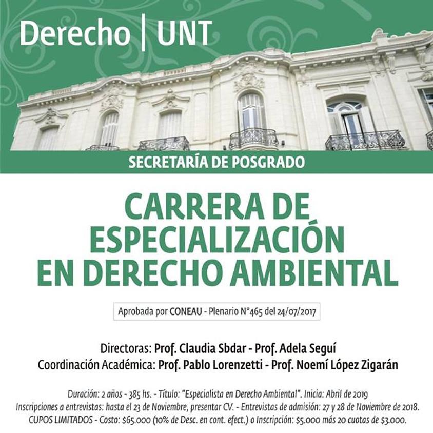 Especialización en Derecho Ambiental: hasta el 23 de noviembre de 2018 se encuentran abiertas las inscripciones