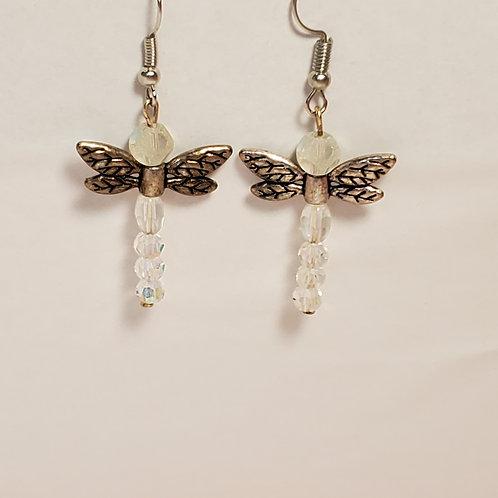 White dragonfly earrings