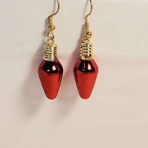 Red lightbulb earrings
