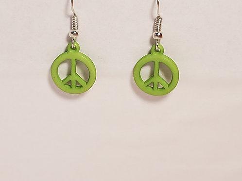 Light green peace earrings
