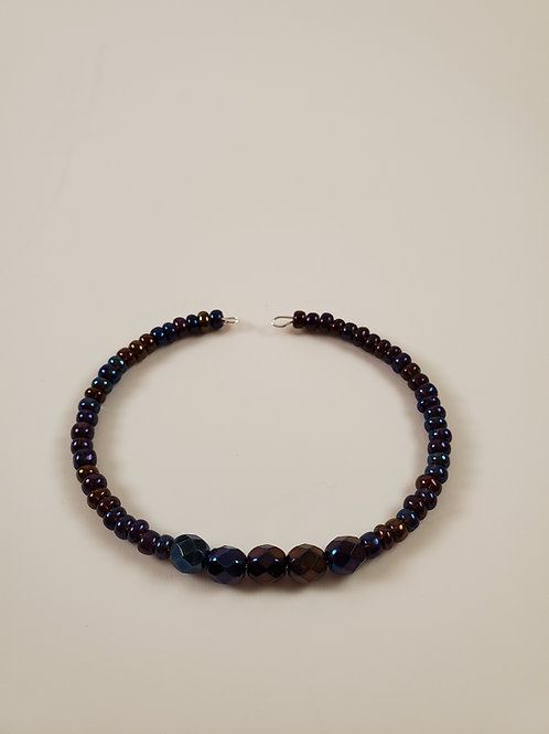 Purply blue memory-wire bracelet