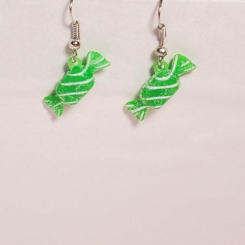 Green candy earrings