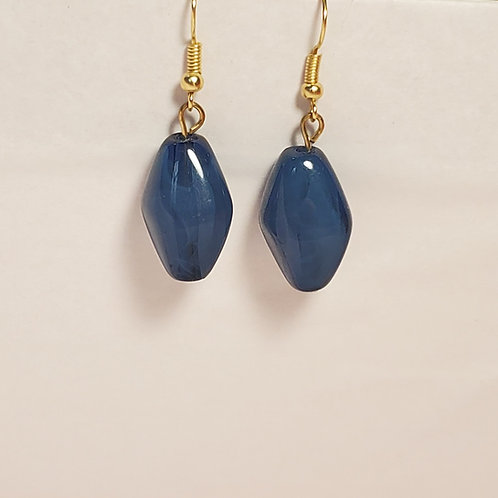 Dark blue oval earrings