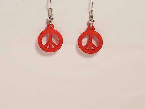 Red peace earrings