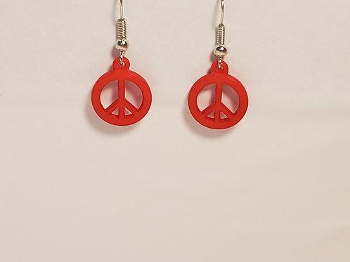 Red peace earrings