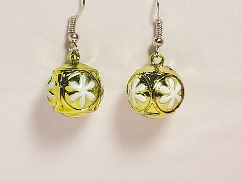 Yellow ornament earrings