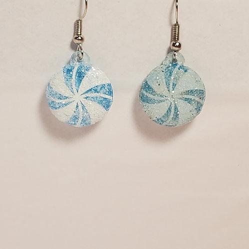 Blue peppermint earrings