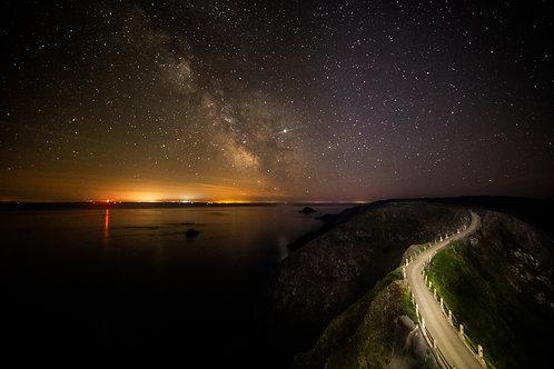 Sark - Milky Way over Jersey at La Coupée