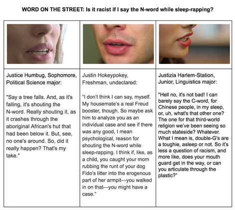WORD ON THE STREET: Is it Racist if I say the N-word While Sleep-rapping?