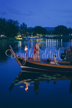 Bride Entry on a Boat in the Lagoon