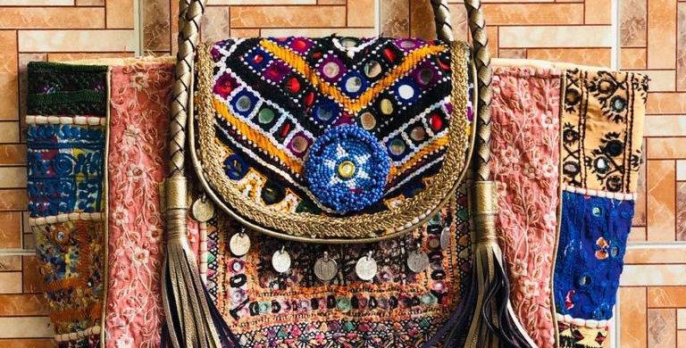 Antique look Leather Gujarati Work Handbags