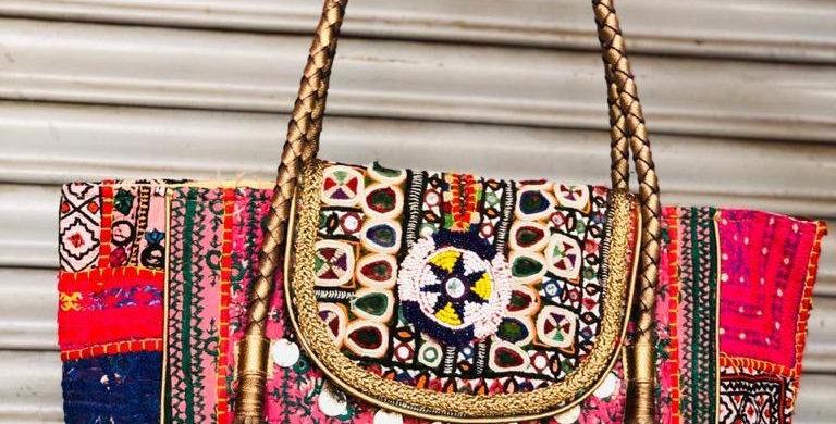 Bright Colored Leather Gujarati Handbags